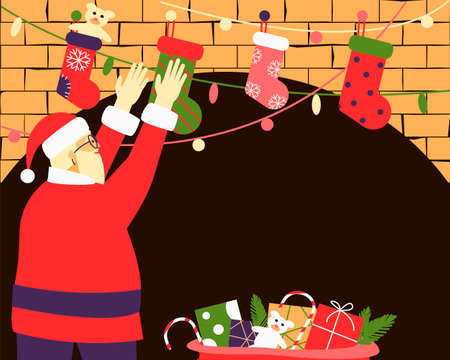 Christmas frame Santa Claus lays out gifts in Christmas stocking hanging on the fireplace. A large bag with gifts is on the floor. Place for text. Flat vector illustration. Ilustração