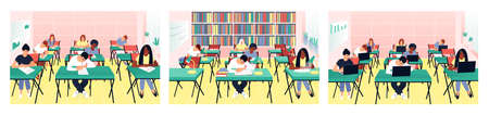 Set with students studying in the classroom. Teens read books in the library. Students work on computers. Children write a test exam in a beautiful classroom. Flat vector illustration. Ilustração