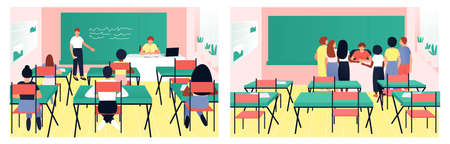 Classroom teaching set of teacher and pupils. In the classroom, one of the students answers at the blackboard. Children gathered at the teacher's table. Flat vector illustration