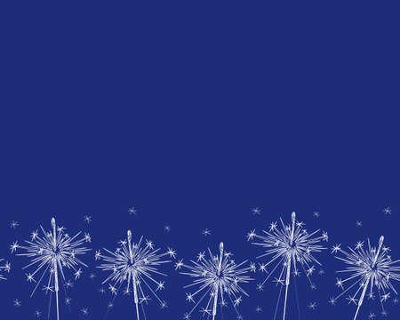 Seamless border with sparklers line art. Sparkler vector firework. New year, Christmas, birthday. Bengal light. Flat vector illustration.