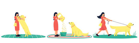 Set of illustrations of a woman and her labrador dog. Meeting the owner and the dog, feeding and walking the dog. Flat vector illustration. Ilustração