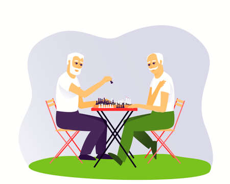 Two grown men are playing chess. Leisure of aged people. Board game for two people. Chess stands on a chessboard. Flat vector illustration.