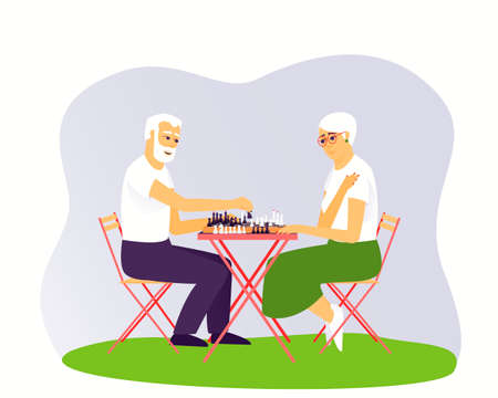 Elderly man and woman are playing shkhmat. Leisure of aged people. Board game for two people. Chess stands on a chessboard. Flat vector illustration. 矢量图像