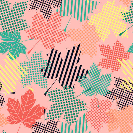 Abstract seamless pattern with maple leaves.