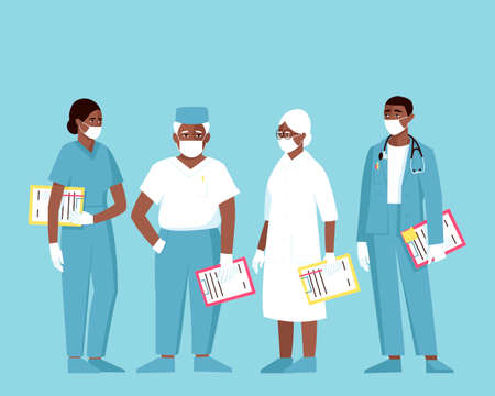 African American doctors of different ages and genders wearing medical masks and gloves. Female and male doctors hold folders to record the patient's illness. Flat vector illustration. Ilustração