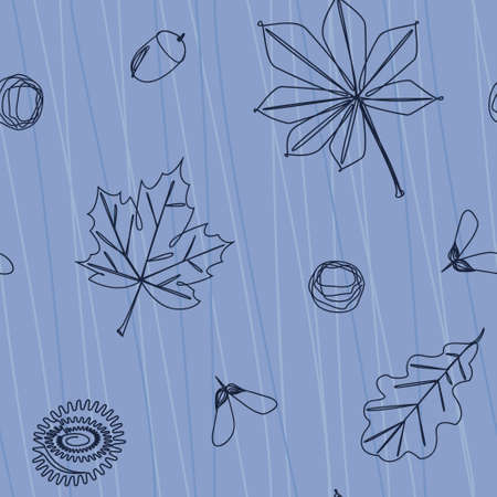Minimalistic seamless pattern of falling leaves and tree fruits. Maple, oak and chestnut leaves. Flat vector illustration. line art.