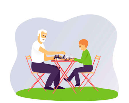 Grandfather and grandson are playing chess. Leisure for people of different ages. Board game for two people. Chess stands on a chessboard. Flat vector illustration.