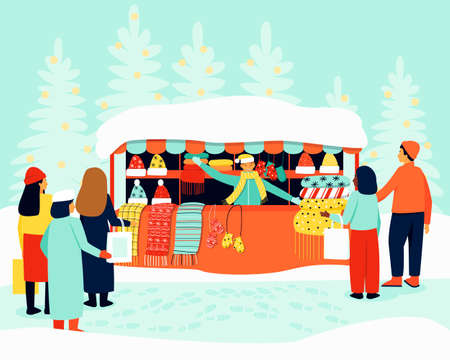 The shop assistant with winter accessories attracts buyers. On the shelves are elegant accessories, hats, scarves, mittens. Flat vector illustration.
