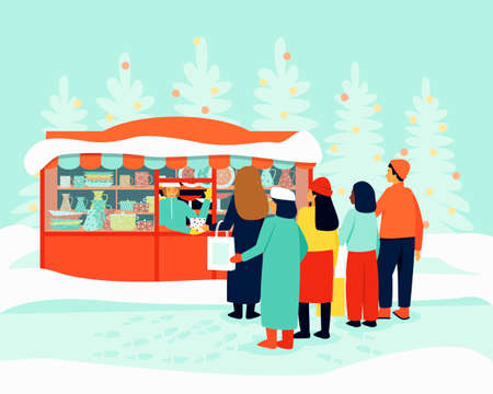 Queue at the kiosk for festive dishes. Christmas Fair. The seller at the stall serves buyers. Winter season. Flat vector illustration.