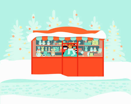 The seller at the toy kiosk is waiting for the buyers. The store sells bears, cars, snowman. Winter season. Flat vector illustration