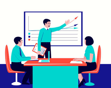 Boss and staff discuss the project at a business conference. Manager presenting company financial report. Brainstorming team. Flat vector illustration.