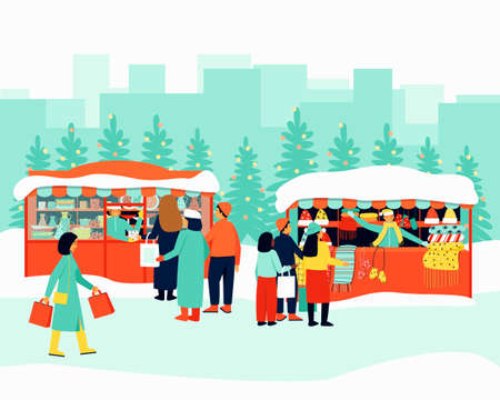 Colorful Christmas market. Illustration for shopping lifestyle design. The seller at the stall serves buyers. Winter season. Flat cartoon colorful vector illustration.