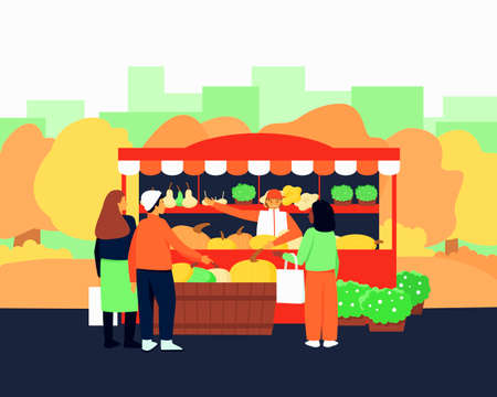 Vegetable counter in the fall season. The seller offers buyers pumpkin, zucchini, squash. Seasonal sale of vegetables. Beautiful colors of autumn. Flat vector illustration.