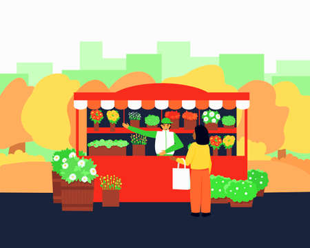 Flower kiosk in the autumn season. The seller offers to pick the right flowers for the buyer. Colorful flat vector illustration.
