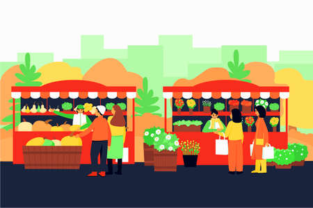 Autumn fair with vegetable and flower stalls. Autumn street with stalls. Shoppers buy goods at stalls. Colorful autumn season. Flat vector illustration.