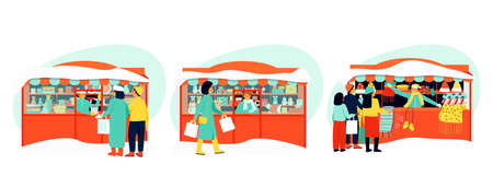 A set of stalls to illustrate the winter fairs. Stall sellers serve buyers. The sell stores toys, dishes, clothes. Winter season. Flat vector illustration.