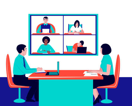 Solution of current issues of the company via video communication. Corporate video communication, remote discussion. Flat vector illustration. Ilustração