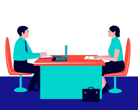 The boss is interviewing a potential employee. Illustration with interview. Recruitment interview. Staff recruitment. Business success. Flat vector illustration. Ilustração