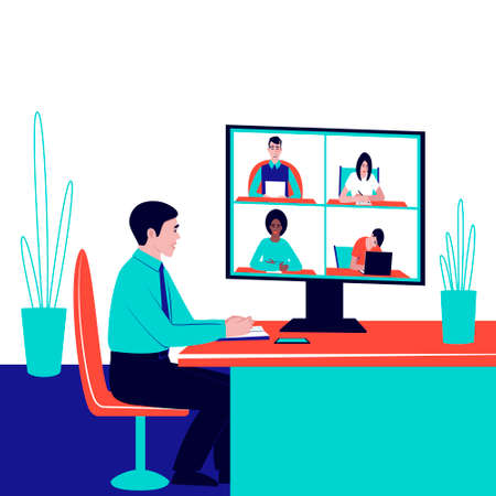 The boss is conducting a corporate video communication, remote discussion. Solution of current issues of the company via video communication. Flat vector illustration. Ilustração