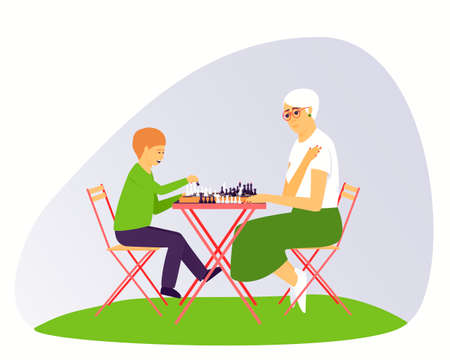 Grandma and grandson are playing chess. Leisure for people of different ages. Board game for two people. Chess stands on a chessboard. Flat vector illustration.