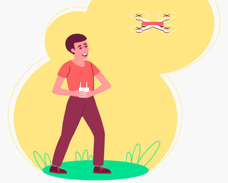 Child playing drone remote for lifestyle design. Happy boy playing by quadcopter. The drone takes off into the sky. Flat vector illustration. Ilustração