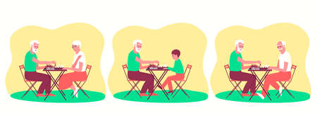 Set of people playing chess. Board game for two people. Chess stands on a chessboard. Flat vector illustration. Ilustração