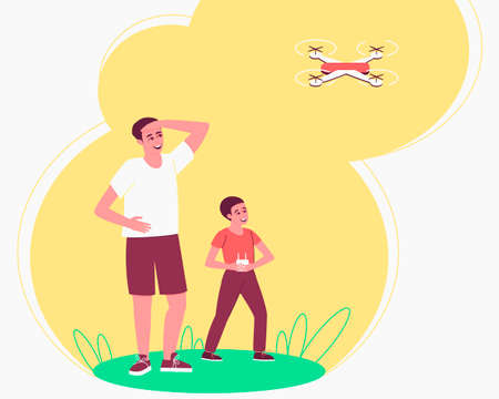 Dad is watching Child playing drone remote for lifestyle design. Family pastime. Happy boy playing by quadcopter. The drone takes off into the sky. Flat vector illustration. Ilustração