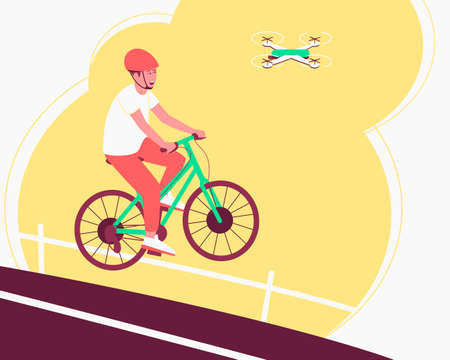 The quadcopter tracks the athlete on the bike, follows him during his movement. The photographs capture elements of the thrill of sports. Flat vector illustration.  イラスト・ベクター素材