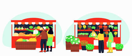 Set of two stalls with vegetables and flowers. Autumn season. Vendors in the stalls offer their wares of pumpkins, squash and flowers. Flat vector illustration.