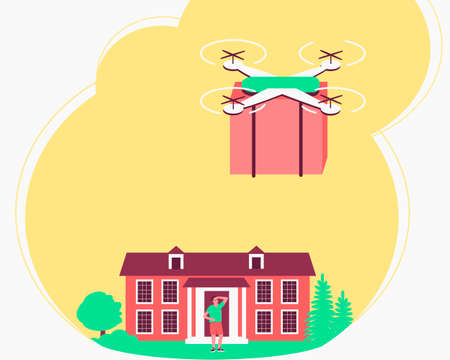 The drone delivers the package to home. Integration of autonomous quadcopters into delivery service. A man is waiting for his parcel outside the house. Flat vector illustration.