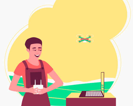 Unmanned technologies monitor and process crops. Farmer controls a quadcopter. Smart farming. Drone with a camera to monitor the state of the crop. Flat vector illustration.