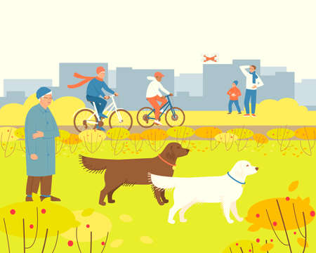 Autumn park with people resting. Dad is watching Child playing drone. Dog handler walks Labradors. Grandma rides a bicycle with her grandson. Flat vector illustration.