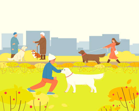 Dogs are walking in the autumn park. Pembroke Corgi with an elderly mistress for a walk. The owner of an Labrador Retriever walks her dog. Flat vector illustration with place for text.