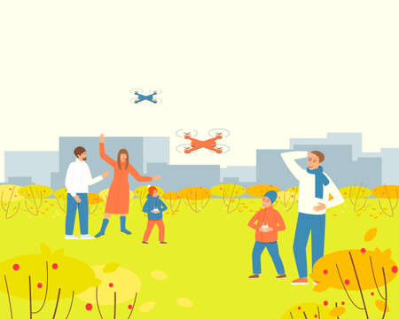 Parents is watching children playing drone in the autumn park. Family pastime. Happy kids playing by quadcopter. The drone takes off into the sky. Flat vector illustration. 版權商用圖片 - 155766575