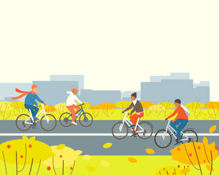 People rides bicycles in a park outside the city. Illustration with place for text on the topic of active lifestyle. Happy family sport activity. Flat vector cartoon illustration.