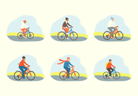 Cyclists set. Daughter mom, son, dad, grandparents are actively spending time. Family rides bicycles. Happy family sport activity. Flat vector cartoon illustration.