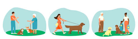 A set of dogs of different breeds with their owners. The owner of an English Bulldog is talking to an elderly dog lover. Portuguese aquatic dog with African American mom and daughter. Flat vector