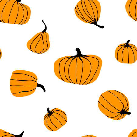 Simple seamless pattern with orange pumpkins. Autumn harvest. Bright pumpkin is the main symbol of the Halloween holiday. Flat vector illustration.