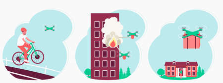 Drones application set in human life. Extinguishing a fire with a drone. The quadcopters delivers the package to home. The quadcopter tracks the athlete on the bike. Flat vector illustration Ilustração