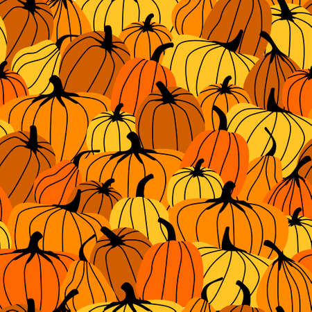 Seamless pattern all covered with orange pumpkins. Autumn harvest. Bright pumpkin is the main symbol of the Halloween holiday. Flat vector illustration.