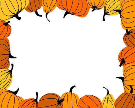 Frame made from bright orange pumpkins. Autumn harvest. Bright pumpkin is the main symbol of the Halloween holiday. Flat vector illustration.