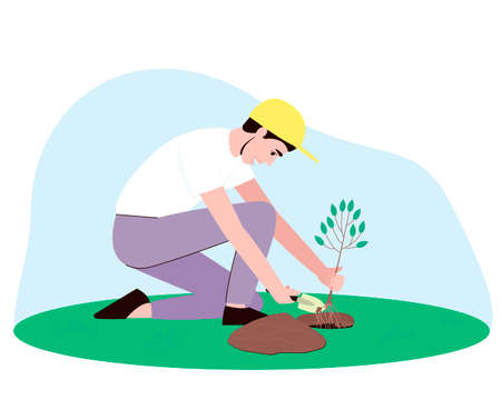 Man Farmers or Gardeners Planting and Caring of Tree Sprout. A man holds in his hand a small seedling with roots. Flat cartoon vector illustration.