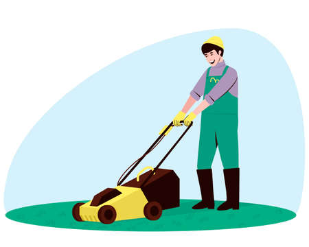 Male handyman character mowing grass with a lawn mower. Mowing young low grass on a lawn or a flat meadow. Vector flat illustration.