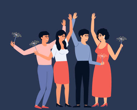 Group of young and happy people holding burning sparklers. Bright sparks during the holidays. Friends celebrate Christmas together. Flat vector illustration. Ilustração