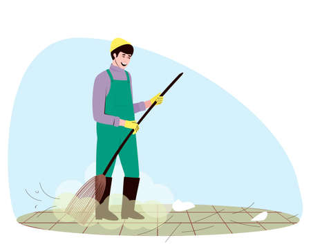 Using a broom, a man sweeps up small debris on the street. A male janitor is engaged in maintaining cleanliness and order in the yard and on the street. Flat vector illustration.