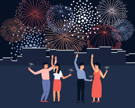 Fireworks at the city festival. Group of young and happy people holding burning sparklers. Bright sparks during the holidays. Friends celebrate the city holiday together. Flat vector illustration. Ilustração