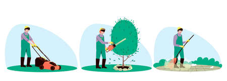 Set of male handyman character gardening. Using a broom, gardener sweeps up small debris. Mowing grass and trims a bush tree plant with a hedge trimmer. Flat vector illustration. Ilustração