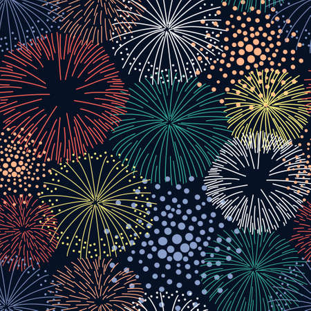 Seamless pattern with colorful fireworks. Pattern on a dark background for festive packaging. Bright sparks of fireworks for fabric design. Flat vector illustration.
