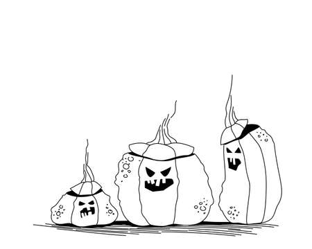 lanterns with cut out faces from pumpkin. The main attribute of the Halloween holiday. Line art festive illustration. Flat vector. Ilustração
