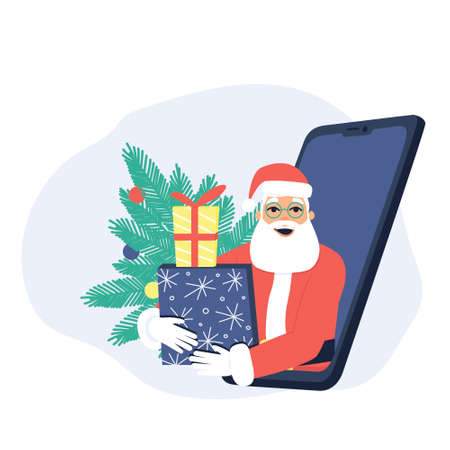 Cheerful Santa Claus with gifts looks out of the phone. Phone with Santa Claus on the background of the fir tree. Concept of New Year's gifts online. Flat vector illustration. Ilustração